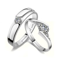 Lady's Plain Ring Opening Couple Korean Version Love Couple Pair Wedding Men and Women Tenderness Diamond Sier