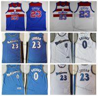 Erkek Vintage 2003-2004 Gilbert Arenas # 0 Mermi Basketbol Formaları 23 Michael Jodan Mavi Beyaz Retro Dikişli Gömlek S-XXL