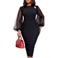 Casual Dresses Africa Dress For Women Office Ladies Plus Size Elegant Mesh Long Sleeve Pencil Bodycon Female Africain Femme Clothes