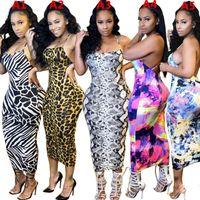 Frauen Kleider Halfter Sleeveless Sexy Gedruckt Hosenträger Backless Leopard Krawatte Farbstoff Bunte Mode Damen Kleid