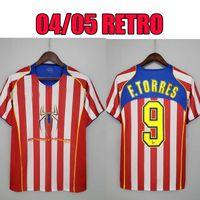 Ретро 2004 2005 Atletico Madrid футбол для футболки # 9 F.Torres 04 05 Gabi Home Vintage Classic Футбольная рубашка Таиланд Качество мужчин Униформа S-XXL