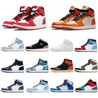 1 Jumpman AJ 1 S Jordans Yüksek Basketbol Ayakkabı UNCT Üniversite Mavi Zoom Korkusuz Obsidyen Rroyal Toe Erkek Spor Eğitmenleri Sneakers 36-46