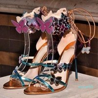 Metallic Leather Sandals Butterfly Lace-up Ankle Wrap High Heel Dress Shoes Cut-out Stiletto Heels Patchwork shoes