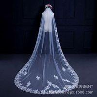 Wind Hochzeitskleid Kopfschmuck Spitze Kamm 3 Meter lang Schwanz Haarnadel Prinzessin Hochzeit Aufkleber Weiß