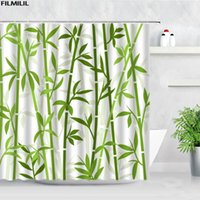 Shower Curtains FILMILIL Green Bamboo Sets Chinese Style Ink Plants Zen Garden Home Decor Polyester Bathroom Bath Curtain Hooks