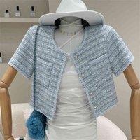 Летние элегантные твиду короткие джектовые пальто женщин корейский шикарный жемчужный рукав рукав винтажный клетчатый ванна женский урожай вершины 210514