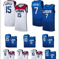 Американский баскетбол Джерси 2020 лет Летняя Олимпиада 7 Синий Кевин Дюран 15 Девин Блантер 6 Дамиан Лиллард 10 Джейсон Татум 5 Зак Лавин Хрис Миддлтон США 2021 Национальная команда