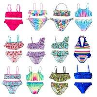 One-Piece Suits 3-14Years Girl Swimsuit Two Pieces Children's Swimwear Swim Children Split Hollow Falbala Bikini Sets Bathing Suit