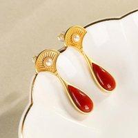 Dangle & Chandelier Natural An Enamel Porcelain Chalcedony Fan-shaped Drop Earrings Chinese Style Retro Unique Craft Small Design Women's Je