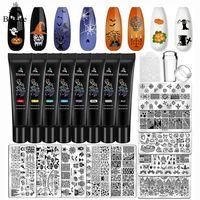 Nail Art Kits Biutee Stamping Plates Set 8pcs Gel Polish 10pcs Templates Flower Halloween Christmas With Stamper Scraper
