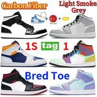 Новейший средний углеродное волокно Чикаго разводной носок 1S 1 баскетбольная обувь легкий дым серый белый черный многоцветный кроссовки мужчин женщин тренеров 36-46