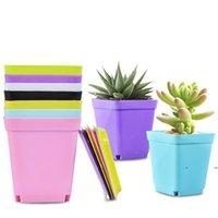 꽃 냄비 사각형 플라스틱 화분 보육원 가든 데스크 홈 장식 캔디 컬러 트레이 무작위 색 FWF7448