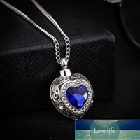 Crystal Blue Heart Cremation Urn Necklace Jewelry Memorial Keepsake Pendant Ash Pendant Necklace for Women Men Factory price expert design Quality Latest Style