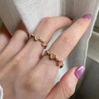 Кластерные кольца 925 Стерлинговое серебро Сердце Циркон Обручальное кольцо Творческие Простые Геометрические Геометрические Ручной Партийные Украшения Подарки для Женщин