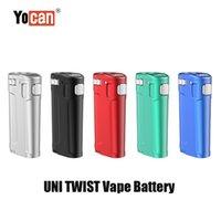 Аутентичные yocan Uni Twist Box Mod 650mah Vape Battery Battery Portable Vaporizer VV Volta Регулируемый диаметр диаметром Подходит все 510 Тележки для нитей 100% Оригинал