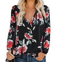 Women's Blouses & Shirts Top V Neck Good Workmanship Loose Floral Women For Daily Wear Blouse Tops
