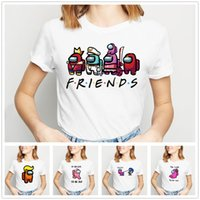 T-shirt da donna Estate Tops Crew Neck Manica Corta Casual Girls Camicia Gioco Fra US Printing Cartoon Funny White S / M / L / XL