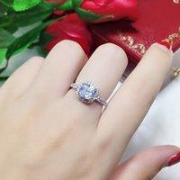 18k chapado en oro blanco 2CT zircon anillos de diamante para mujeres joyería de plata esterlina anillo halo aniversario regalo de aniversario esposa