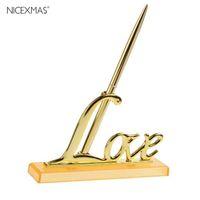 Decoração de festa de ouro ouro prata convidado livro assinando caneta amor sinal titular mesa decoração suprimentos