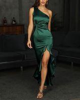 인어 이브닝 드레스 2021 새틴 사이드 스플릿 Vestidos de Fiesta One 어깨 짙은 녹색 가운 드 Soiree Prom 파티 드레스 특별 행사 가운