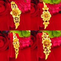 Bangle Flower Shaped Wedding Dubai Bracelet Yellow Gold Filled Classic Women Jewelry Gift