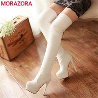 MORAZORA SIZE 33-46 slim over the knee boots women super high heels platform shoes autumn sexy t female 210913