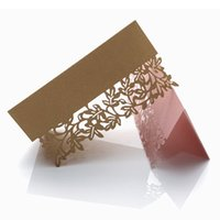 50pcs Tree Leaf Laser Cut Place Card Hollow Luxury Table Name Card Message Setting Card Birthday Wedding Decor Party Supplies