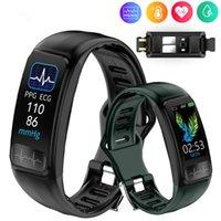 P12 ECG PPG Bracelet Smart Bracelet Électronique Pression artérielle Tendeur cardiaque Moniteur Smartband Sports Bluetooth Podomètre IP67 Étanche Étanche Fitness Tracker