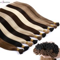 S-noilite 50pcs I Tip Microlink Extensions 1g s Straight Human Fusion Keratin Micro Ring Stick Hair Pre-Bond Blonde