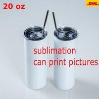 20 oz sublimartion tazas rectas tumblers con pajitas de acero inoxidable taza taza de café sublimación en blanco botella de agua