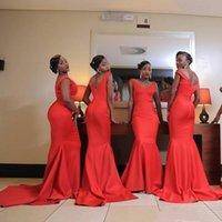 2022 Orange Mermaid Bridesmaid Dresses V Neck Backless Sweep Train Satin Prom Gowns Wedding Party Dresses vestidos de noche