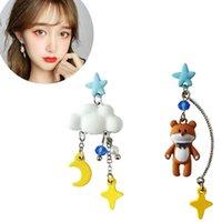 Stud S925 Silver Pin Handmade Trend Delicate Women's Elegant Manual Long Lobe Earrings Bear Pendants Jewelry Piercing Ear Ring