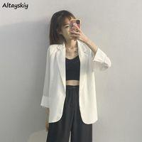 Women's Suits & Blazers Women Lightweight Femme Simple Korean Office Ladies Chic Summer Oversize Cozy Notched Outerwear Baggy Streetwear