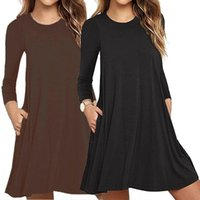 Casual Dresses Womens Autumn Long Sleeve Round Neck Plain T-Shirt Dress Solid Color Pleated Swing Loose Pullover Streetwear With Pockets