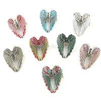 Anillo de ala de ángel tridimensional con diamante y hembra ajustable elástica
