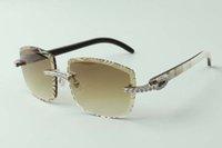 2021 디자이너 선글라스 3524023 끝없는 다이아몬드가 렌즈 천연 하이브리드 버팔로 경적 사원 안경을 삭감, 크기 : 58-18-140mm