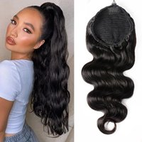 Body Wave Drawstring Ponytail Human Hair Extensions Brazilian Remy Hairs Clip Ins For Women Aliballad Pony tail 140g 4 Combs