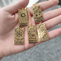 Chains Tarot Pendant Necklaces For Women Men Gold Stainless Steel Chain Sun Moon Fortune Star World Necklace Mandala Jewelry Gift 2021