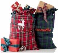 Nouveau Style Plaid Santa Sack Noël Santa Sacs pour enfants Candy Cadeau Sac Toile Santa San Sack Style Plaid Style X-Mas Cadeau Sac Gyqqq