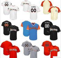 Benutzerdefinierte Herren Womens Jugend Miami Baseball-Trikots Weiß Navy Grau Blau Rot Nähed Jeder Name Jede Zahl Flex Base Cool Basisstreitys