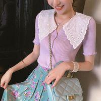 Fashion Girl Summer Knitted Shirt Crop Slim Short Cardigan Women Sleeve V-neck Blouse Women's Knits & Tees