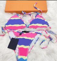 Trajes de baño de diseño de mujeres de alta calidad con letras Summer Transpirable de 2 piezas Traje de playa para mujeres Traje de baño de marca sin respaldo 3 colores