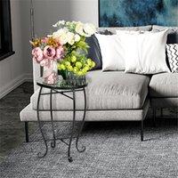 Мебель для гостиной artisassetset Мозаика Круглая терраса Акцент Мини-таблицы с цветным стеклом зеленых цветов