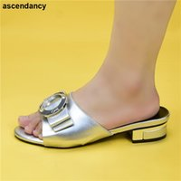 Dress Shoes Ladies Summer Slippers Good Quality Selling Italian Style Slingbacks African Women Mid Heels Sandals Fashion