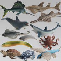 القرش الأخطبوط السلاحف دولفين السيف تعلم التعليمية محاكاة مصغرة نموذج لمدة 12 قطع الاطفال عمل الشكل المحيط البحر الحيوانات لعبة