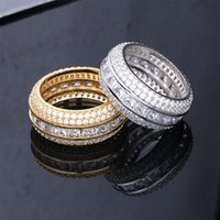 Hip Hop Rapper Rings Men Fashion Gold Plated Rings For Male Fashion Hiphop Silver Ring Bling Cubic Zirconia Stone Men's Hollow Ring Ice Out Jewelry