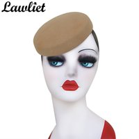 Lawliet دائرة المرأة خوذة الصوف فيلت القبعات pillbox القبعات fascinator للمرأة مطول الإمداد قبعة قاعدة كوكتيل القبعات