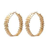 Vintage Gold Farbe Metall Lassen Sie große Kreisreifen Ohrringe für Frauen Mädchen Geometrische Runde Aussage Ohrring Mode Party Schmuck