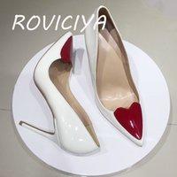 Kırmızı Kalpli Seksi Pompalar Kadın Ayakkabı Klasikleri 12 cm Yüksek Topuk Ayakkabı Sivri Burun Kadınlar Parti Düğün 10 cm 8 cm QP099 Roviciya 210331
