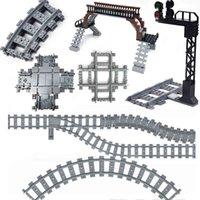 Train Tracks Building Blocks Switch Flexible Railway Motor Wheel Accessory Traffic light locomotive Educational Toys